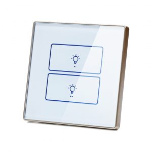 کلید هوشمند دو پل سفید دور پلاستیکی باکسی
