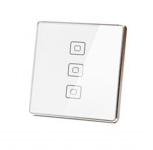 کلید هوشمند سه پل سفید فلزی مربعی